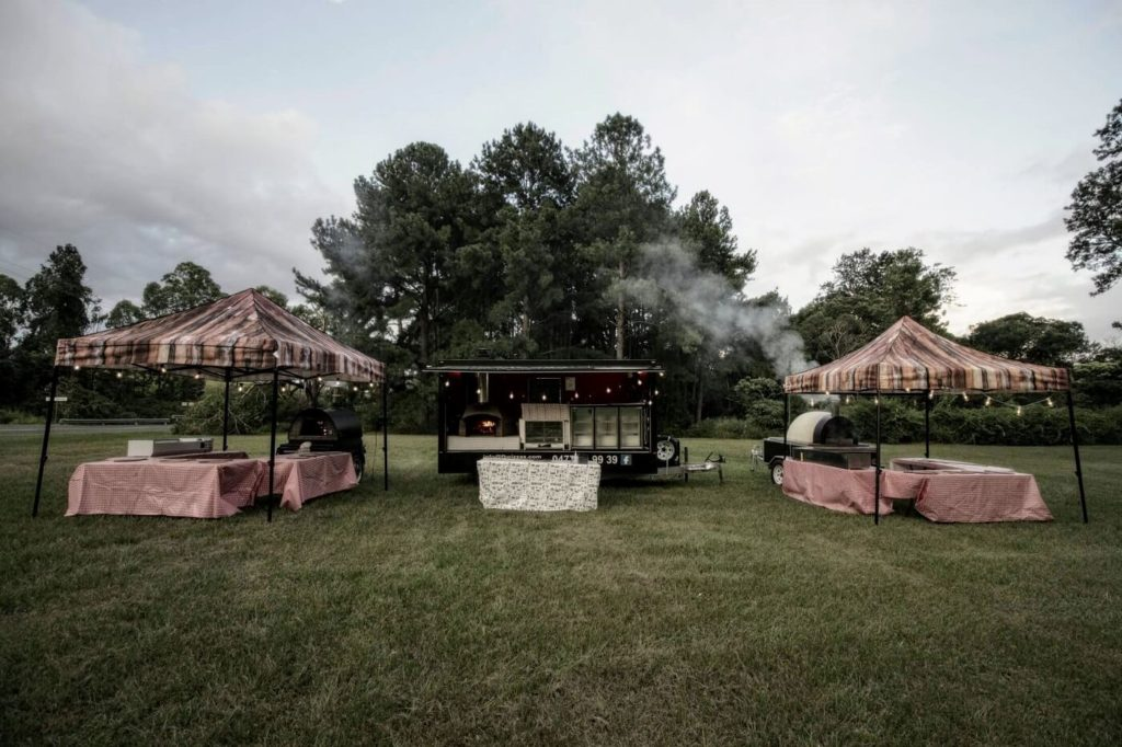 A view of our mobile catering setup. We've kept out catering options flexible and have several different food truck options with different sizes to suit parties, wedding and events of all sizes.
